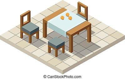 isométrique, vecteur, meubles, illustration, cuisine