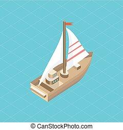 isométrique, yacht, isolé, mer, icône