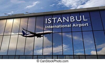 istanbul, avion, reflété, terminal, atterrissage
