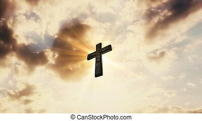 it., catholique, rayons, nuages, soleil, ciel, croix, religion, derrière, concept, en mouvement