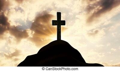 it., catholique, rayons, nuages, soleil, croix, coteau, religion, derrière, concept, en mouvement