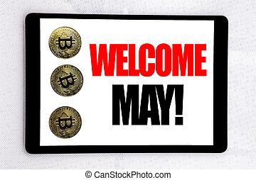 it., concept, tablette, business, texte, écran, may., bitcoin, accueil, suivant, cryptocurrency, écrit, bonjour, fond, écriture, blanc, mois, projection, salutation