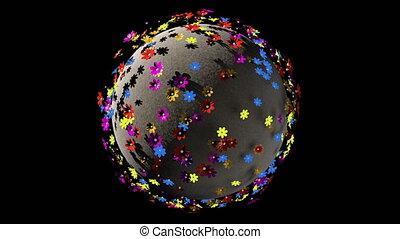 it., fantasme, seamless, planète, rendre, 3d, la terre, fleurs, boucle, cartoony