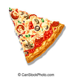 it., fromage, coupure, triangle, illustration., ingrédients, airbrush, forme, fond, included., sentier, blanc, plusieurs, mozzarelle, pizza