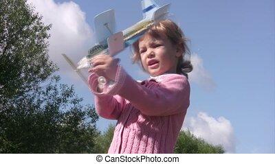 it., peu, jouet, jeux, lancement, avion, girl