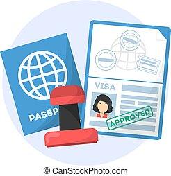 it., timbre, voyage, idée, visa, passeport, approuvé