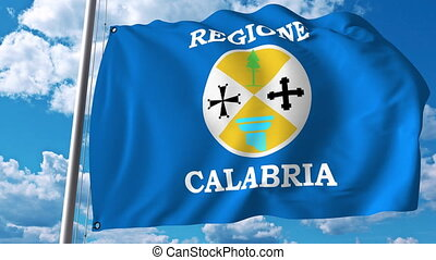 italie, onduler, région, calabre, drapeau