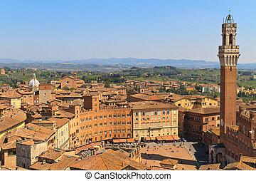 italie, piazza, campo, del, pubblico, palazzo, siena