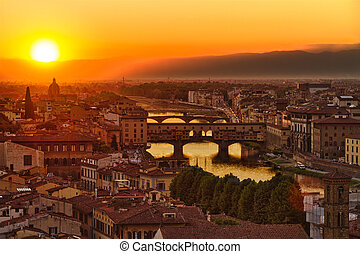italie, ponte vecchio, florence, arno rivière, coucher soleil