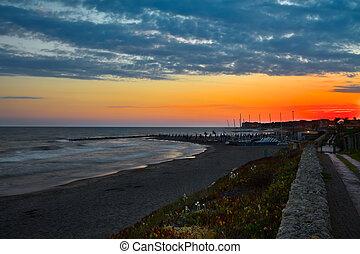 italie, san, di, coucher soleil, marina, nicola