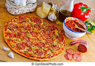 italien, ingrédients, pizza