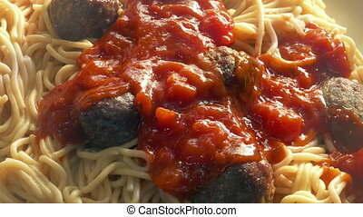 italien, servi, plat, restaurant, sauce
