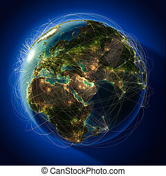 itinéraires, aviation, commandant, global, globe