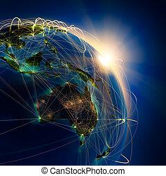 itinéraires, principal, australie, océanie, air