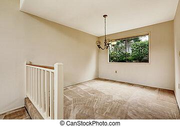 ivoire, salle, tonalités, balustrade, doux, vide