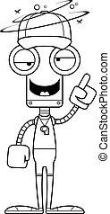 ivre, entraîneur, dessin animé, robot