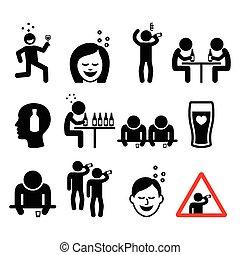 ivre, femme, homme, icônes