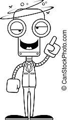 ivre, personne affaires, dessin animé, robot