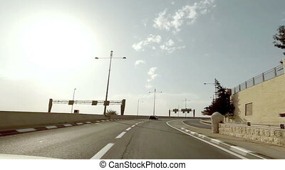 jérusalem, israël, autoroute, conduite