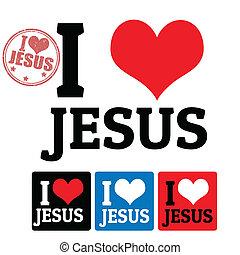 jésus, étiquettes, amour, signe