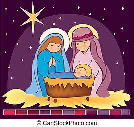 jésus, bébé, 3, mangeoire