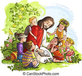 jésus, enfants, lecture, bible