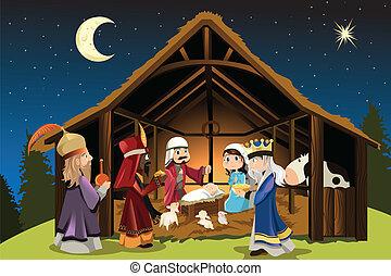 jésus, hommes, sage, christ, trois