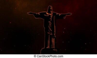jésus, monument, statue, religion, vidéo