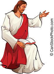 jésus, séance, vue, christ, côté