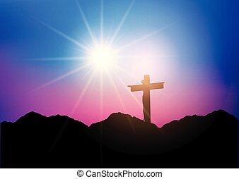 jésus, silhouette, croix, 1303
