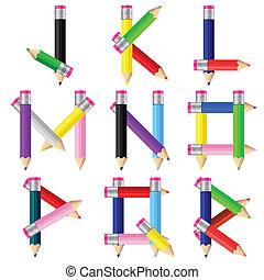 j-r, crayons, lettre