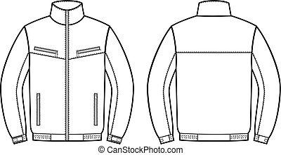 jacket., travail, dos, devant