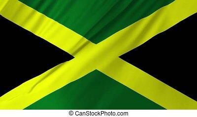 jamaïque, drapeau ondulant, 1, 2, animation, vent