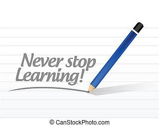 jamais, arrêt, illustration, conception, apprentissage, message