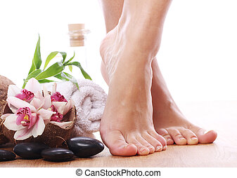 jambes, articles, différent, spa, beau