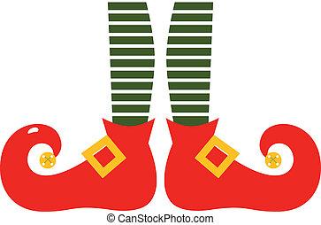 jambes, elf's, isolé, noël, dessin animé, blanc