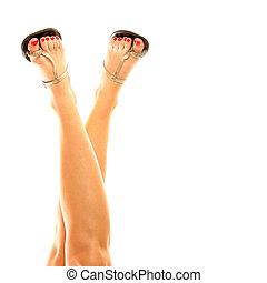 jambes, femme, sandales