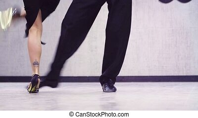 jambes, professionnel, danseurs, tango, danse
