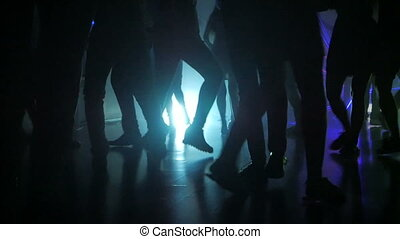 jambes, silhouette, danse, gens, lumières, iridescent, salsa, fête, latino, multi-coloré