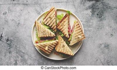 jambon, appétissant, club, frais, fromage, sandwichs, sain, grillé