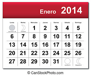 janvier, 2014, calendar.