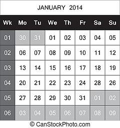 janvier, 2014, chaque, faible, planificateur, calendrier, nombre