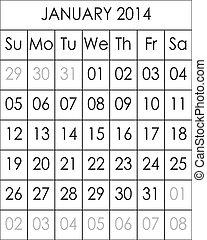 janvier, 2014, fichier, grand, eps, planificateur, calendrier