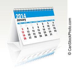 janvier, calendrier, 2014, bureau