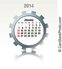 janvier, calendrier, -, 2014