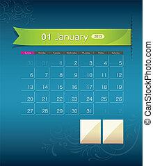 janvier, calendrier, conception, 2013, ruban