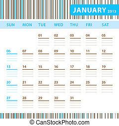 janvier, calendrier, planification, -, 2013