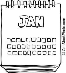 janvier, projection, mois, noir, blanc, calendrier, dessin animé