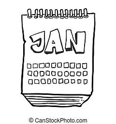 janvier, projection, mois, noir, freehand, dessiné, calendrier, blanc, dessin animé