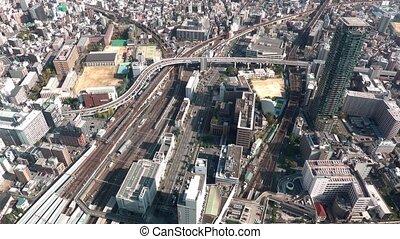 japon, vue aérienne, osaka, trafic
